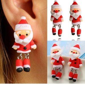 Handmade Polymer Clay Soft 3D Santa Earrings ➰🆕➰